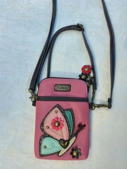 pink butterfly cell phone crossbody bag small