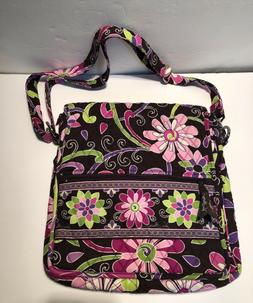 Vera Bradley Plum Petals Large Hipster Crossbody Shoulder Ba