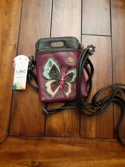 Chala Purple Butterfly Cell Phone Crossbody Bag Small Conver