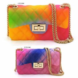 Quilt Embossed Multi Color Jelly Classic Shoulder Bag Candy