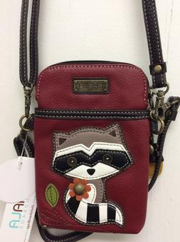raccoon red cell phone crossbody bag small