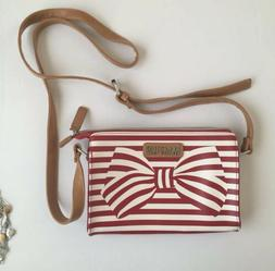 Kenneth Cole Reaction Red & White Striped Bow Leather Crossb