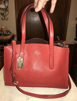 Coach Red Leather Convertible Crossbody/Shoulder/Hand Bag NW
