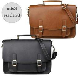 Retro Leather Briefcase for Men Messenger Satchel Crossbody
