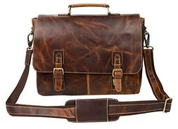 16 inch Genuine Leather Briefcase Bag - Crossbody Laptop Sat