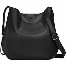 S-ZONE Leather Crossbody Bag Simple Shoulder Drew Purse For