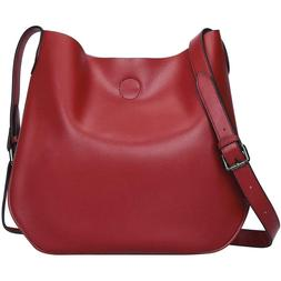 S-ZONE Leather Crossbody Bag Simple Shoulder Bag Drew Purse