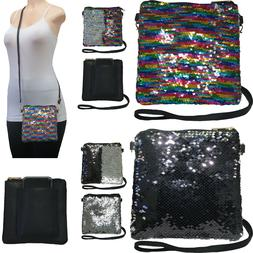 Sequin Crossbody Cell Phone Bag Fast Access Outside Pocket A