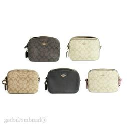 Coach Signature Coated Canvas and Leather Mini Camera Bag Cr