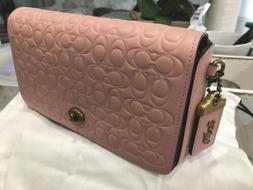 Coach Signature Dinky Leather Floral interior Crossbody Bag