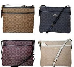 Coach Signature Jacquard File Bag Crossbody  Purse Handbag F