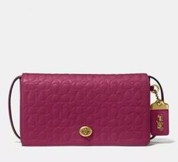 Coach Signature Leather Dinky Crossbody Bag Bright Cherry/Br