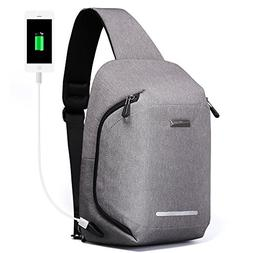 Large Sling Backpack Mens Shoulder Cross body Bag Travel USB