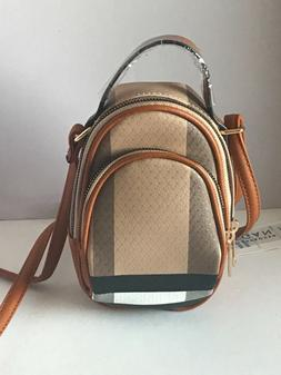 Deluxity Small Plaid Crossbody Bag Cell Phone Purse-Brown/Ta