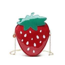Strawberry Chain Shoulder Bags Women Patent Leather Crossbod