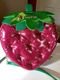 BETSEY JOHNSON Strawberry Feels 4EVA Red Metallic Crossbody