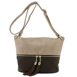 Tassel Accent Bucket Crossbody Bag Light Taupe/Coffee