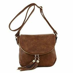 Tassel Accent Crossbody Bag with Flap Top Gray
