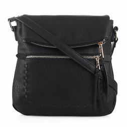 Deluxity Tassel Zippered Crossbody Bag with Flap Top