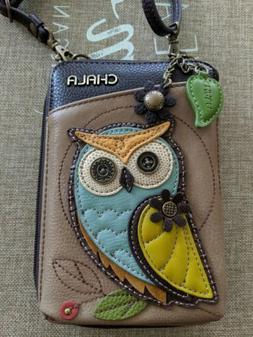 CHALA TAUPE CREAM WHIMSICAL OWL ZIPPERED CROSSBODY WALLET FA