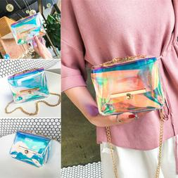 US New Women Transparent Bag Clear PVC Jelly Chain Tote Cros