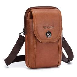 VIIGER Vertical Leather Small Travel Man Purse Crossbody Pho