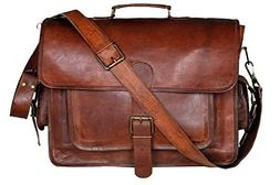 cuero 17 Inch Vintage Handmade Leather Messenger Bag for Lap