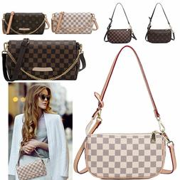 Women Checkered Leather Crossbody Purse Monogram Handbag Clu