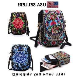 Women Crossbody Bag Floral Cellphone Bag Mini Purse Retro Em