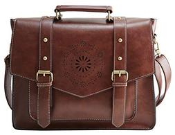 ECOSUSI Women's Briefcase Messenger Laptop Bag PU Leather Sa