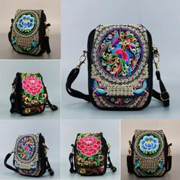 USA Women Travel Pouch Floral Embroidered Zip Bag Crossbody