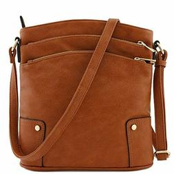 Women' s Crossbody Bag Triple Zip Pocket Large