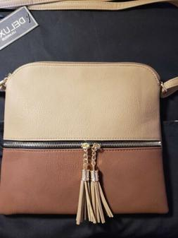 Cross body Bag With Tassel Brown and Tan   New   Deluxity cr