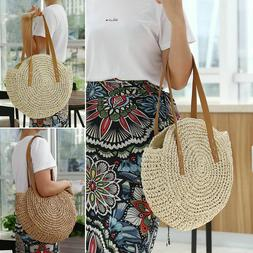 Women Straw Bag Handwoven Round Rattan Handbags Knitted Cros