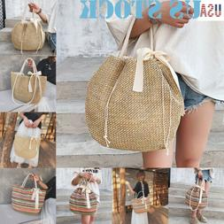 Women Summer Tote Large Straw Shoulder Bags Rattan Bag HandW