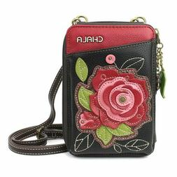 Womens Black Chala Cell Phone Wallet Converts to Pouch Purse