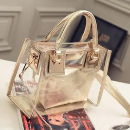 Womens Transparent Handbag Beach Bag Clear Jelly crystal Pur